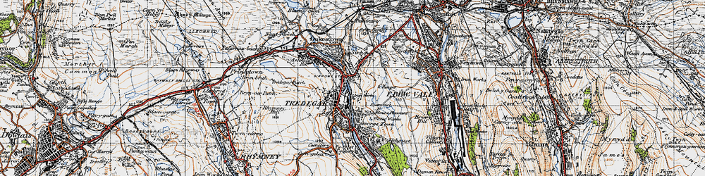 Old map of Tredegar in 1947