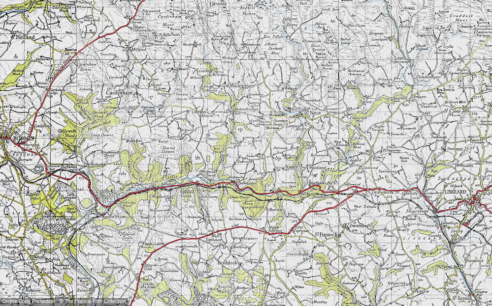 Old Map of Historic Map covering Ley in 1946