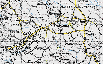 Old map of Tredrizzick in 1946