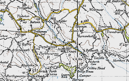 Old map of Logan Rock in 1946