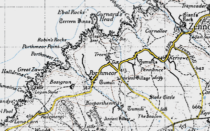 Old map of Treen in 1946