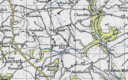 Old map of Trefanny Hill in 1946