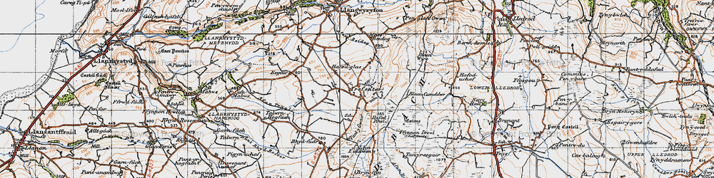 Old map of Afon Tryal in 1947