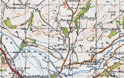 Old map of Afon Aeron in 1947