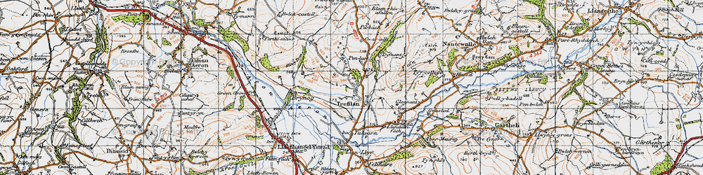 Old map of Afon Aeron in 1947