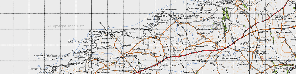 Old map of Trefin in 1946