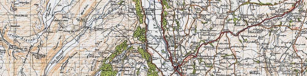 Old map of Trefriw in 1947