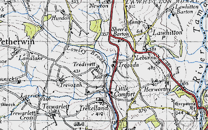 Old map of Tregada in 1946