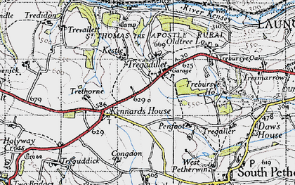 Old map of Tregadillett in 1946