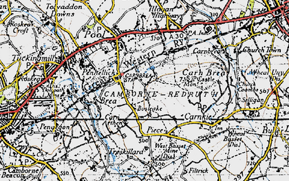 Old map of Tregajorran in 1946