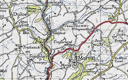 Old map of Wringworthy in 1946