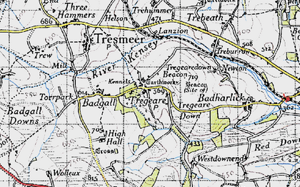Old map of Lanzion in 1946