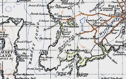 Old map of Ramsey Island in 1946