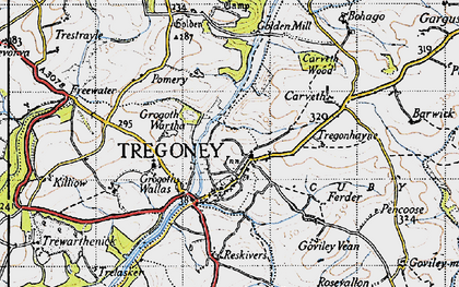 Old map of Tregony in 1946