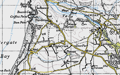 Old map of Tregurrian in 1946