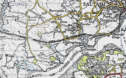Old map of Ince Castle in 1946