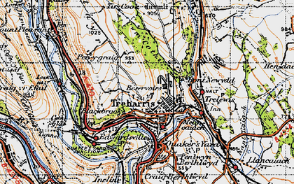 Old map of Treharris in 1947