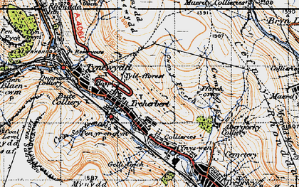 Old map of Y Garn Bica in 1947