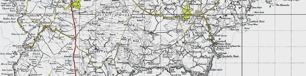 Old map of Goonhilly Downs in 1946