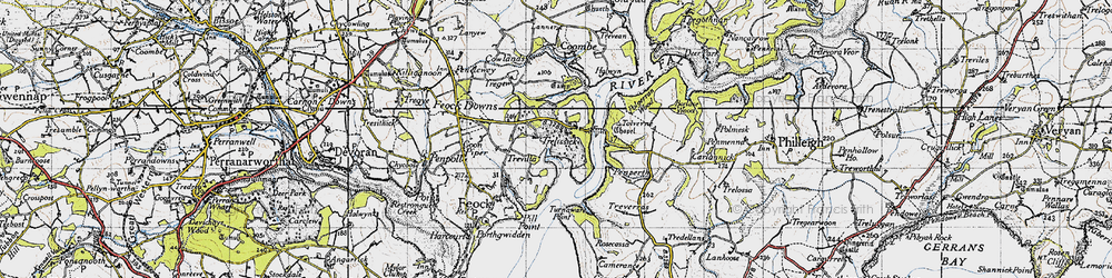 Old map of Tolverne in 1946