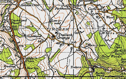 Old map of Trelleck Grange in 1946