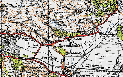 Old map of Tremadog in 1947