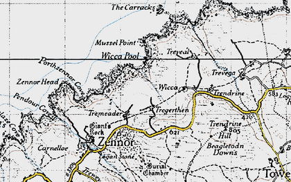 Old map of Zennor Quoit in 1946