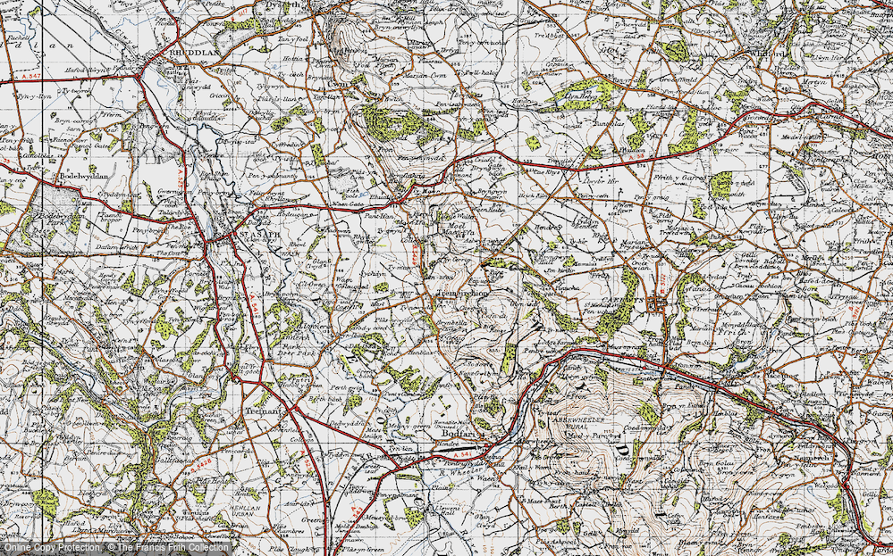 Old Map of Historic Map covering Aelwyd-uchaf in 1947