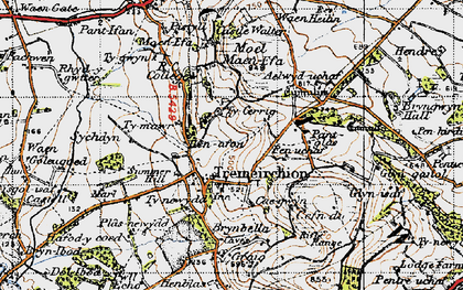 Old map of Aelwyd-uchaf in 1947