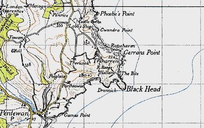 Old map of Trenarren in 1946
