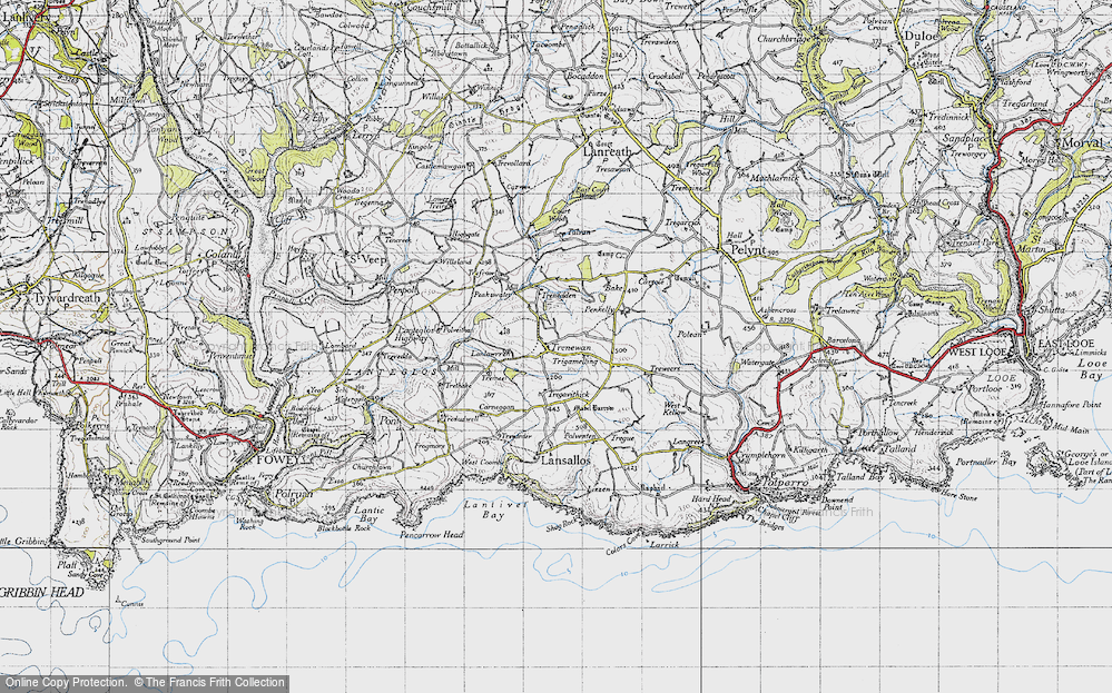 Old Map of Historic Map covering Bake Rings in 1946