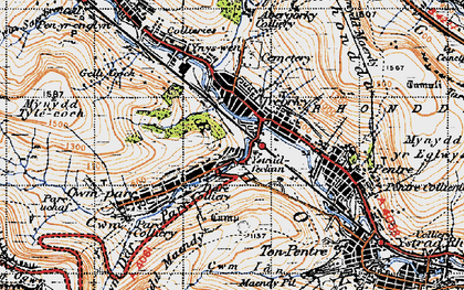 Old map of Treorchy in 1947