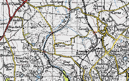 Old map of Trerice Manor in 1946