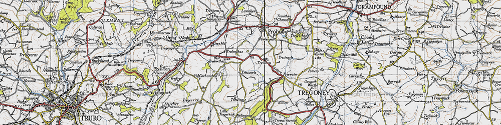 Old map of West Trelowthas in 1946