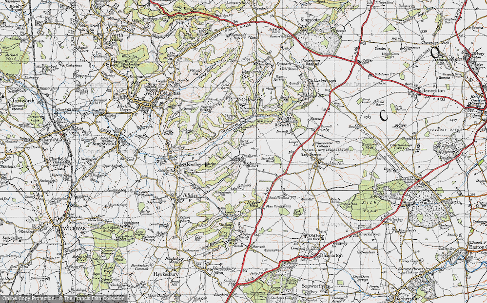 Old Map of Historic Map covering Yewtree Hill in 1946