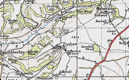 Old map of Yewtree Hill in 1946