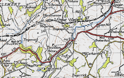 Old map of Tresillian in 1946