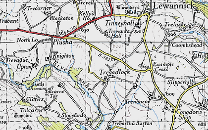 Old map of Tolcarne Tor in 1946