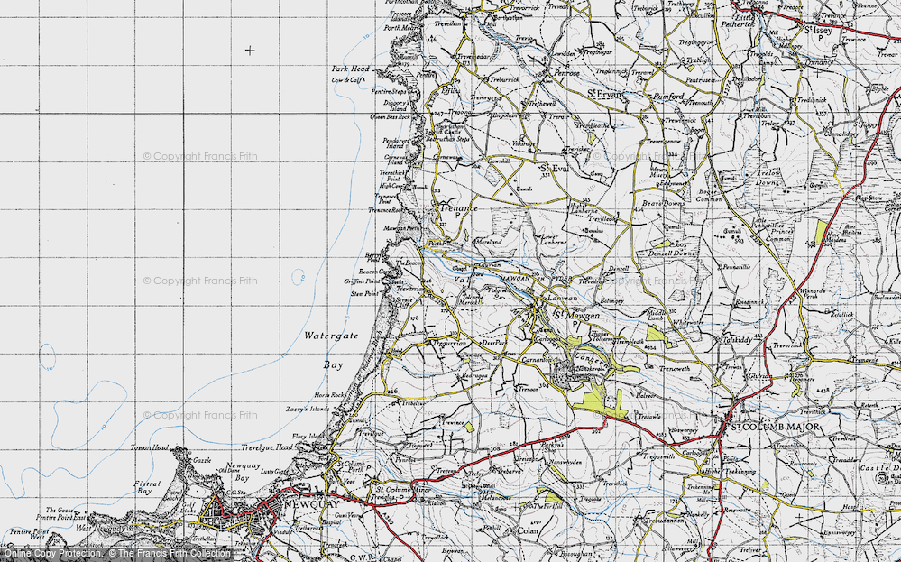 Old Map of Historic Map covering Tolcarne Merock in 1946