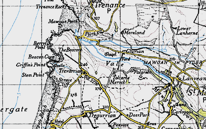 Old map of Tolcarne Merock in 1946