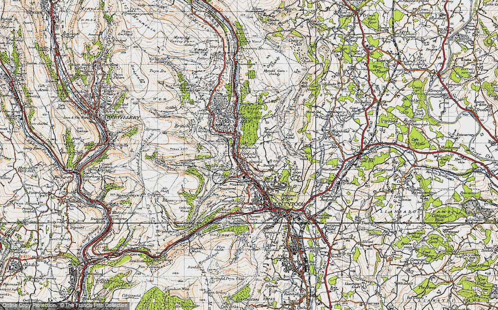 Old Map of Historic Map covering Lasgarn in 1947