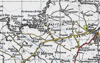 Old map of Trevone in 1946
