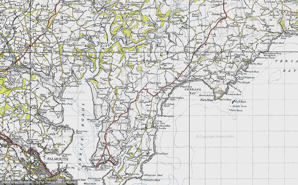 Old Map of Historic Map covering Lanhoose in 1946
