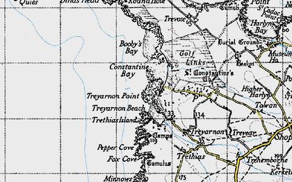 Old map of Treyarnon Bay in 1946