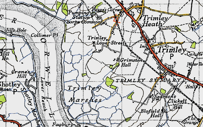 Old map of Trimley Lower Street in 1946
