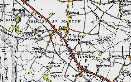 Old map of Trimley St Martin in 1946