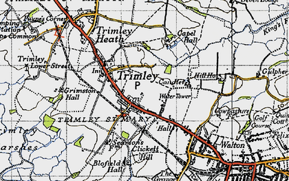Old map of Trimley St Mary in 1946