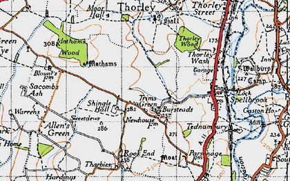 Old map of Trims Green in 1946