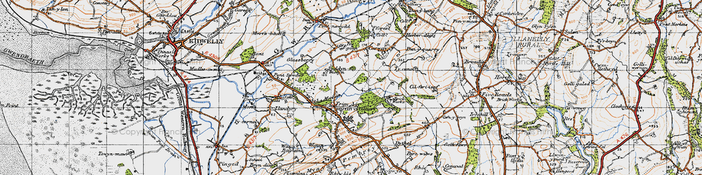 Old map of Afon Morlais in 1946