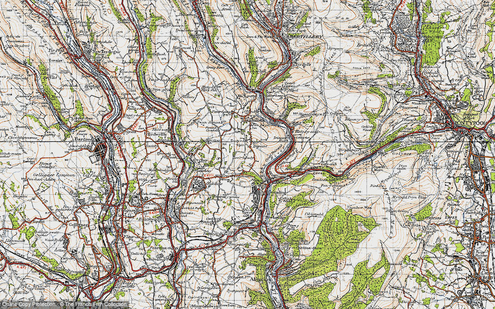 Old Map of Historic Map covering Ton-ty'r-bel in 1947